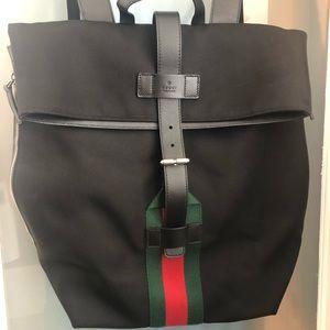 Gucci techno canvas web backpack black